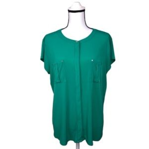 Dana Buchman Kelly green blouse